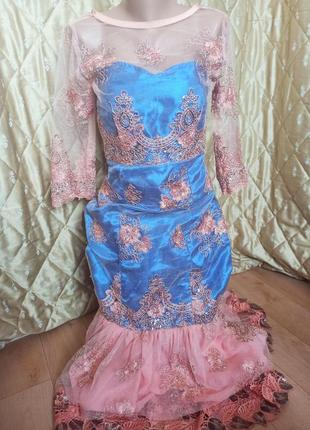 Платье вечернее шикарное пайетка стразы камни выпускное вечернее свадебное