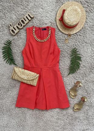 Распродажа!! коралловое льняное платье №558