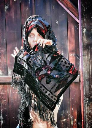Шёлковый шарф палантин бархатный набивной бархат напыление с бахромой besarani