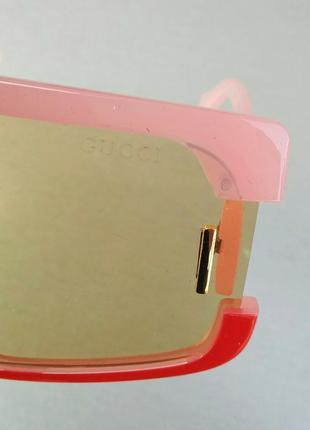 Gucci стильные женские солнцезащитные очки маска большие розово красные7 фото