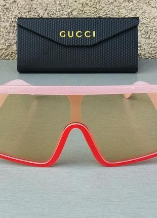 Gucci стильные женские солнцезащитные очки маска большие розово красные