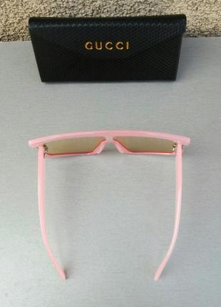 Gucci стильные женские солнцезащитные очки маска большие розово красные4 фото