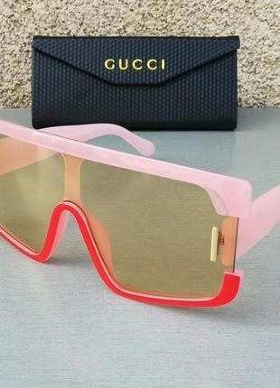 Gucci стильные женские солнцезащитные очки маска большие розово красные2 фото