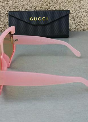 Gucci стильные женские солнцезащитные очки маска большие розово красные3 фото