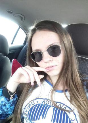 Чёрные очки с серебряной оправой)3