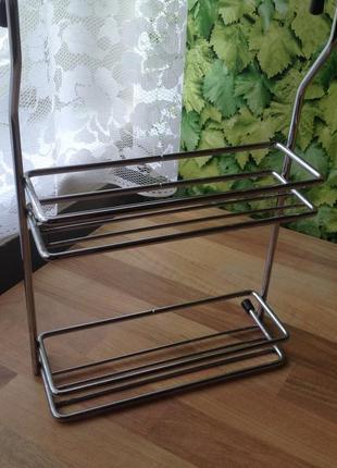 Подвеска полочка  металлическая хромированная для трубы-рейлинг 30х21х7 см