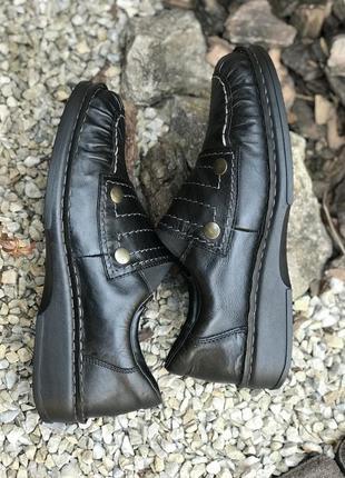 Фирменные кожаные женские туфли мокасины rieker{германия} 39р.