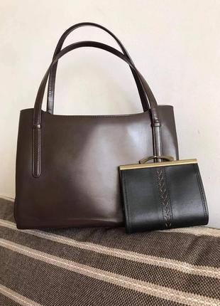 Кожаная елегантная сумка + кошелёк