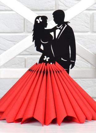 Салфетница декоративная держатель для салфеток влюбленная пара из дерева черный цвет