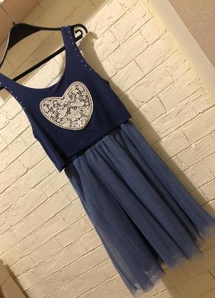 Платье летнее фатин голубое сердце