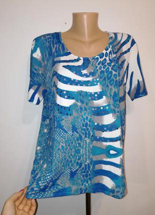 Трикотажная блуза топ обалденной расцветки, тренд - декор пайетки, roman, 4xl-5xl
