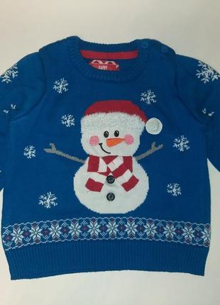 Джемпер новогодний принт снеговик 9-12м