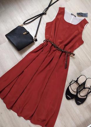 Очень красивое платье миди терракотового цвета с поясом