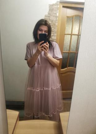 Очень красивое стильное платье с фатином