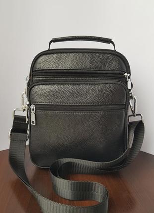 Мужская практичная барсетка сумка на плечо чёрная из натуральной кожи