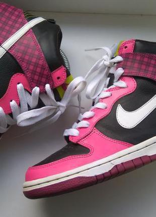 Женские высокие кроссовки nike dunk high хайтопы скейтера 37,5-38р. 24см оригинал