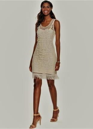 """Белое платье кружевное с бахромой в стиле """"гэтсби"""" на 48-50 рр"""