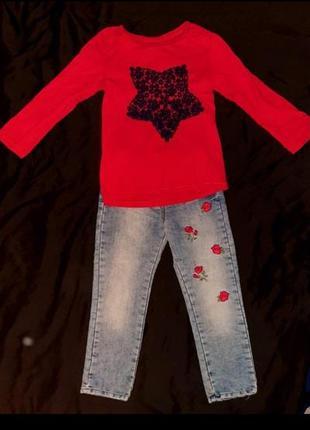 Реглан и джинсы на девочку