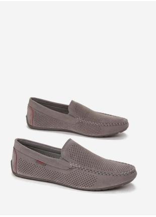 Серые мокасины туфли