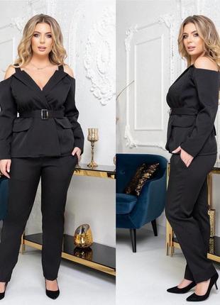 Стильный костюм батал, жакет с открытыми плечами и брюки,черный