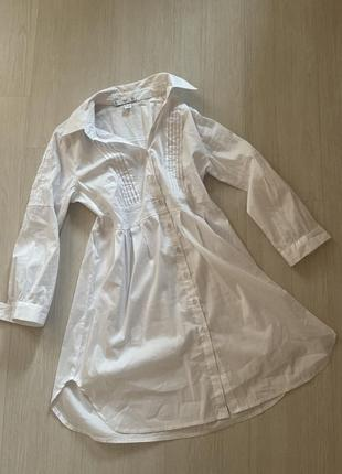 Платье рубашка туника хлопковая белая