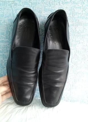 Мужские кожаные туфли лоферы мокасины hugo boss