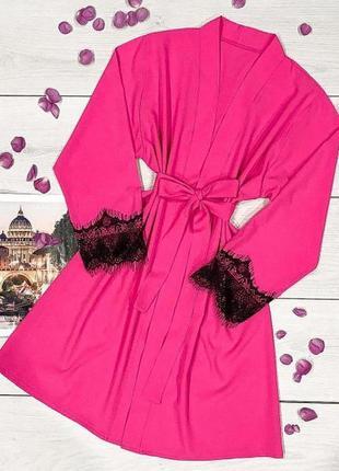 Жіночий домашній одяг халат з мереживом