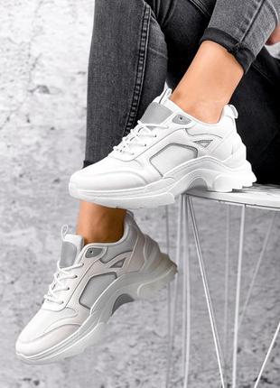 Кроссовки белые текстильные с рефлективными вставками