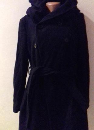 Шерстяне пальто зара з обємним капюшоном