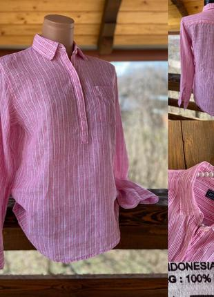 Фирменная стильная качественная натуральная блуза рубашка из льна