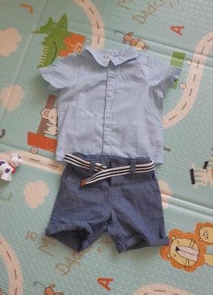 Комплект рубашка и шортики h&m 4-6 м