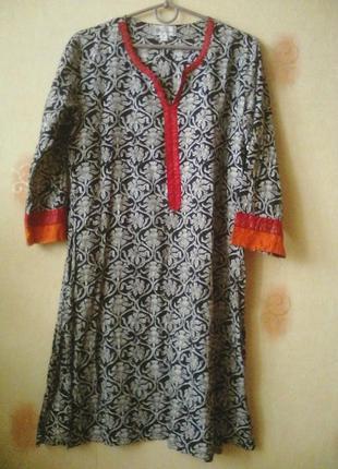 Платье туника разлетайка для дома в индийском стиле котоновое