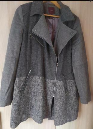 Серое шерстяное стильное пальто косуха