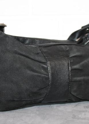 Hotter компактная кожаная+замшевая сумка