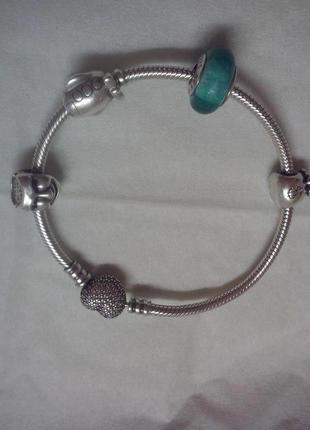 Браслет pandora оригинал серебро 925 с бусинами