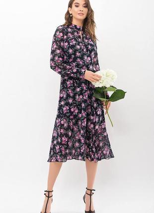 Платье креп-шифон/принт (в расцветках)2 фото