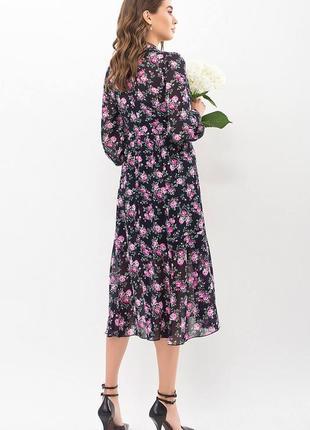 Платье креп-шифон/принт (в расцветках)3 фото