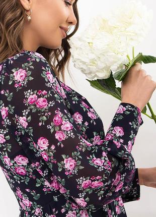 Платье креп-шифон/принт (в расцветках)4 фото