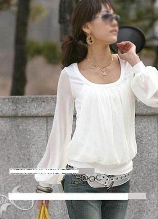 Блузка белая с шифоновыми рукавами
