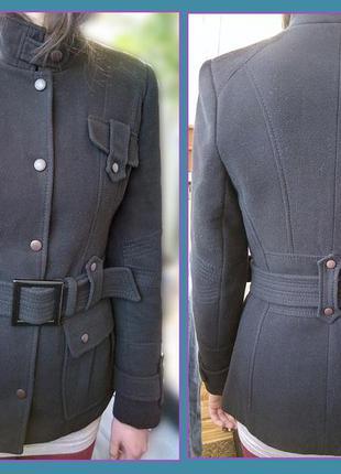 Демисезонное приталенное черное полупальто с поясом_пальто весняно-осіннє(р.44-46)