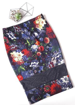 Красивая юбка карандаш миди в цветочный принт с сеточкой