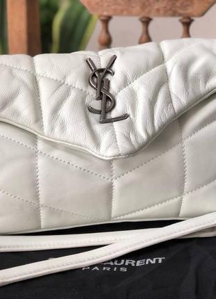 Женская кожаная сумка в стиле yves saint laurent🔥натуральная кожа белая