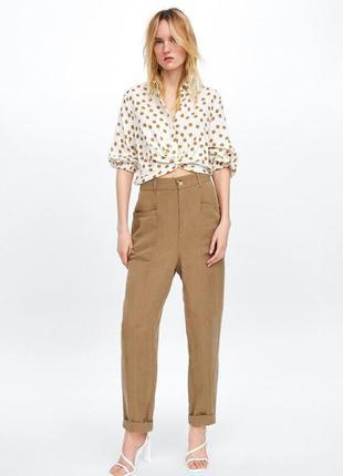 Льняные брюки zara.