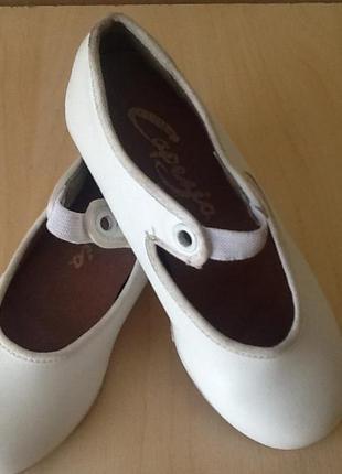 Туфельки для степа, детские танцевальные белые туфли, туфли на утренник