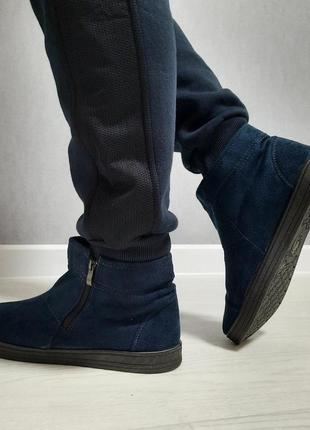 Зимние угги ботинки, утепленные мехом, унты короткие. синие