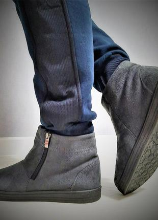 Зимние угги ботинки, утепленные мехом, унты короткие. серые