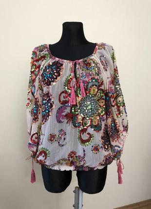 Miss june нарядная блузка пайетки вышивка яркая miss june