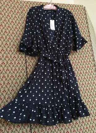 Платье на запах шифоновое сердечки рюши воланы
