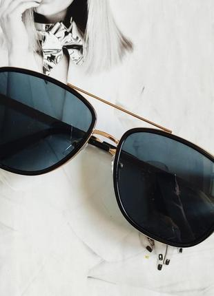 Мужские очки в стиле тони старк чёрный в золоте