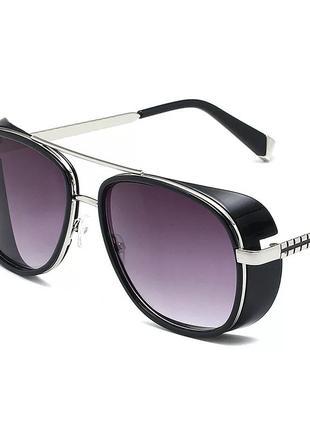 Мужские очки в стиле тони старк фиолетовый в серебре